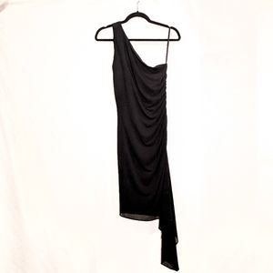 One-Shoulder Dress with Baby Side Train
